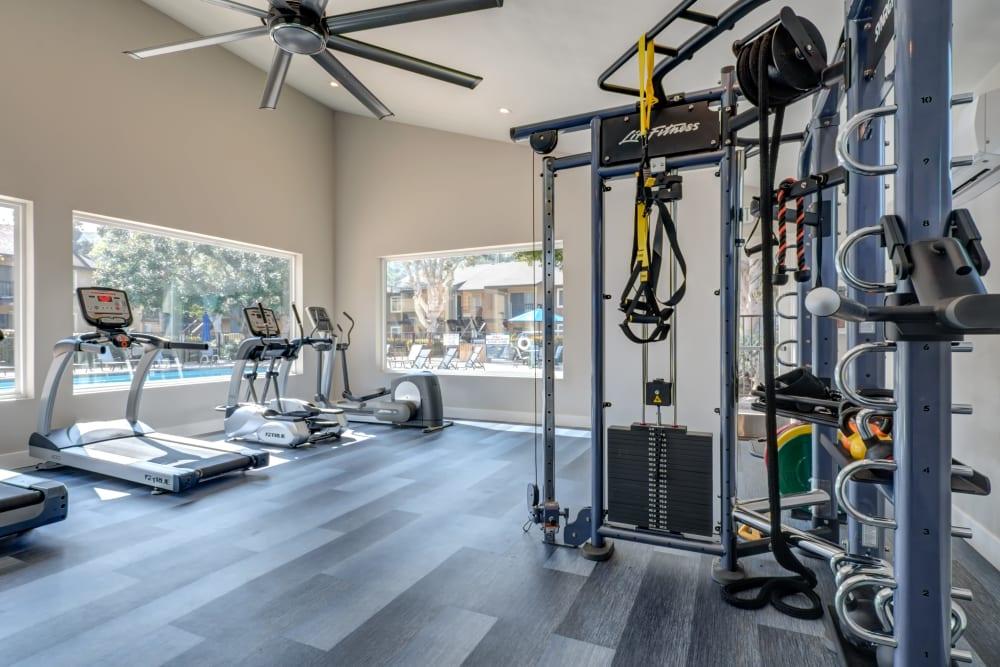 Clean, modern community gym at Terra Nova Villas in Chula Vista, California