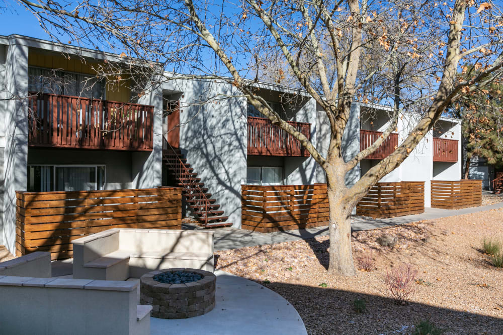 Forest landscape at apartments in Albuquerque, New Mexico