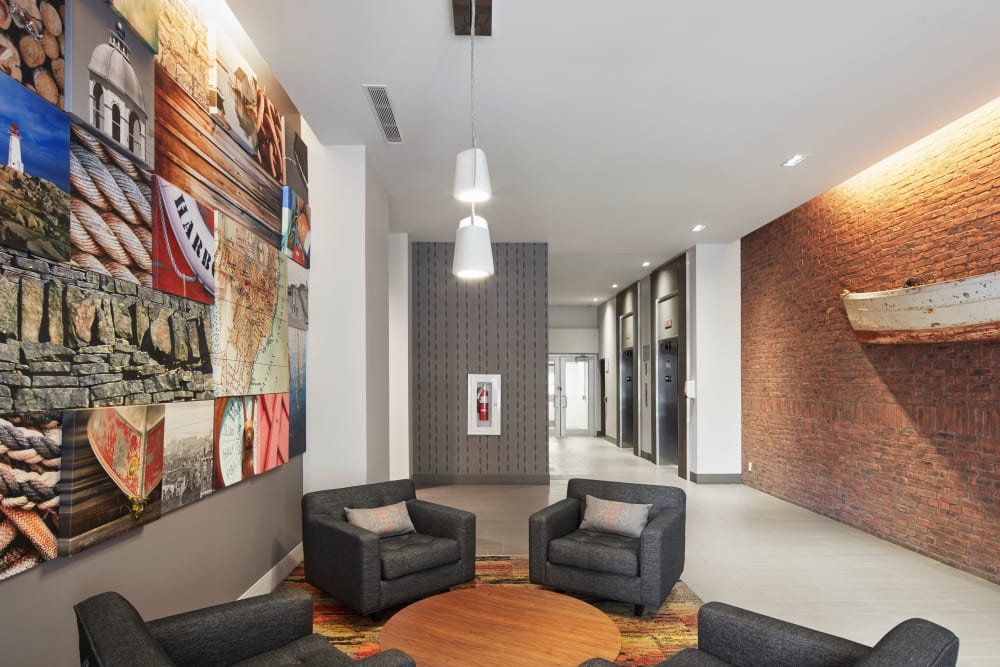 Community seating at 19Twenty Apartments in Halifax, Nova Scotia