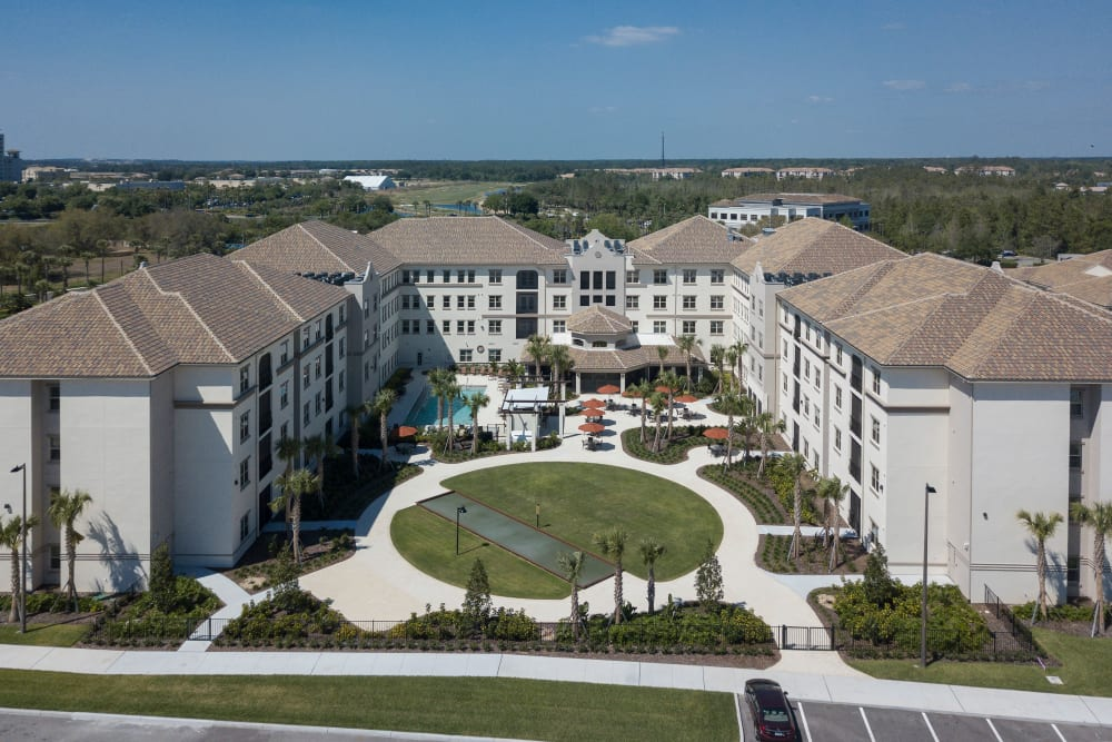 Aerial view of Merrill Gardens at ChampionsGate in ChampionsGate, Florida.