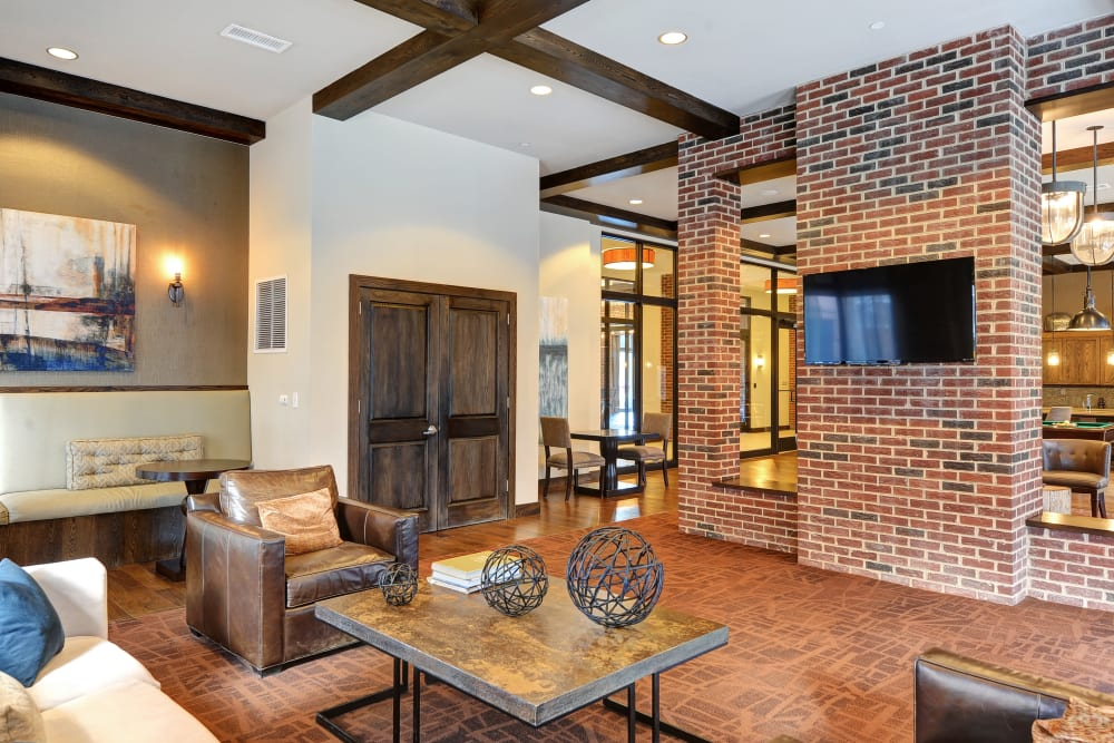 Grand club room at The Mark at Brickyard Apartment Homes in Beltsville, Maryland.