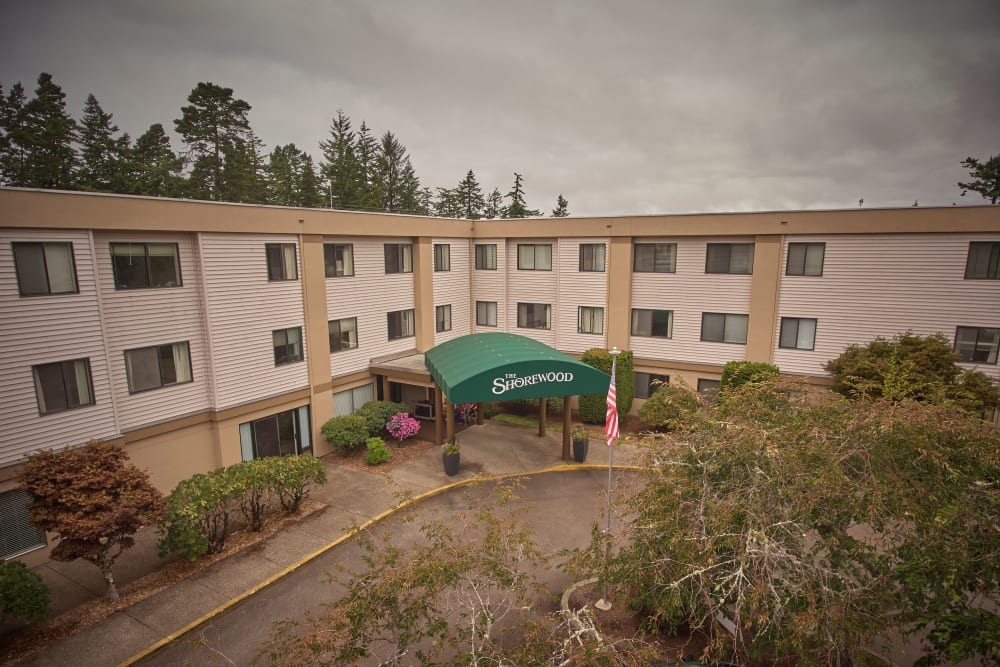 Entryway of senior living complex in Florence, Oregon