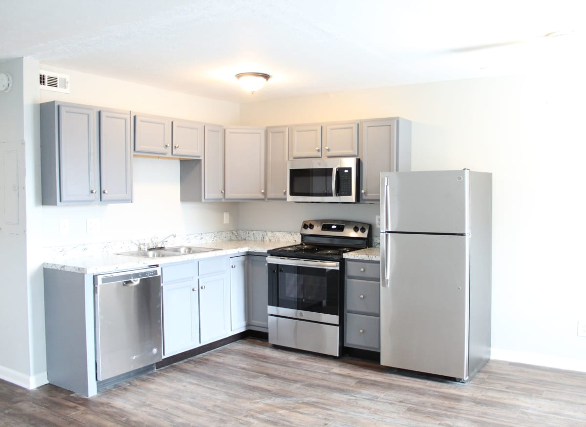 Model kitchen with new stainless steel appliances at Clifton Ridge Apartments in Louisville, Kentucky