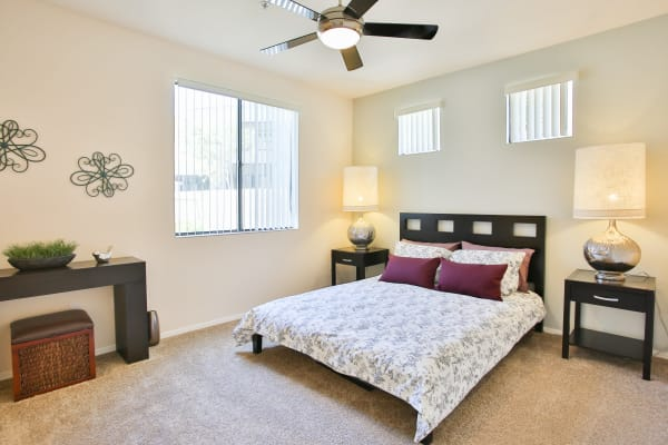 Master bedroom with ceiling fan at Spectra on 7th South in Phoenix, Arizona