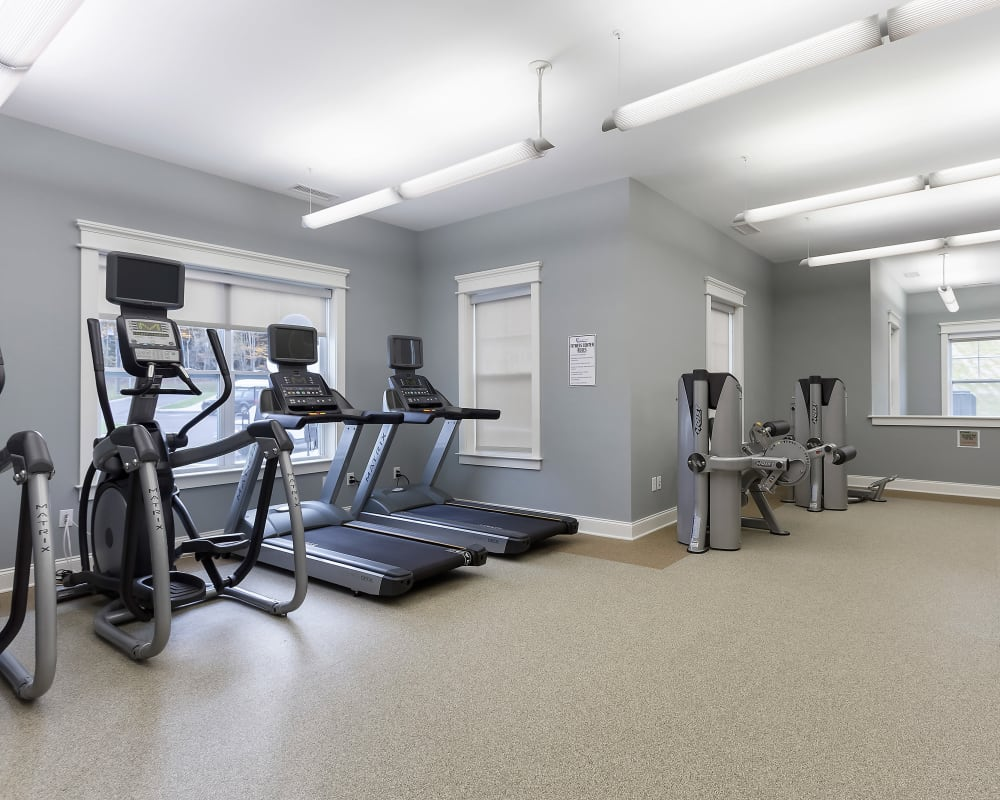 Fully equipped fitness center at The Sound at Gateway Commons in East Lyme, Connecticut