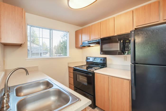 Model kitchen at Arbor Square Apartments in Olympia, Washington