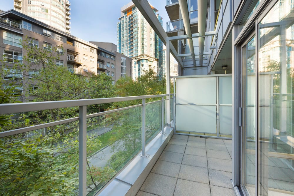 Balcony view at Bayview at Coal Harbour in Vancouver, British Columbia
