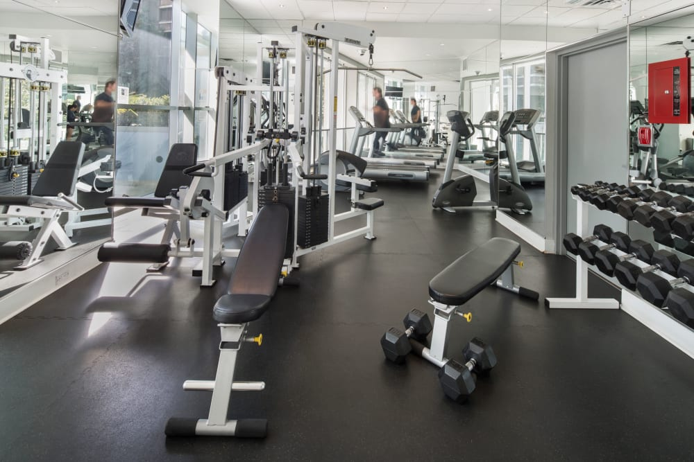 Fitness equipment at Bayview at Coal Harbour in Vancouver, British Columbia