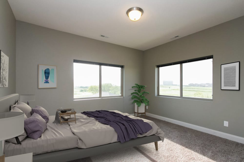Model bedroom layout at The Cascades at Jordan Creek in West Des Moines, Iowa