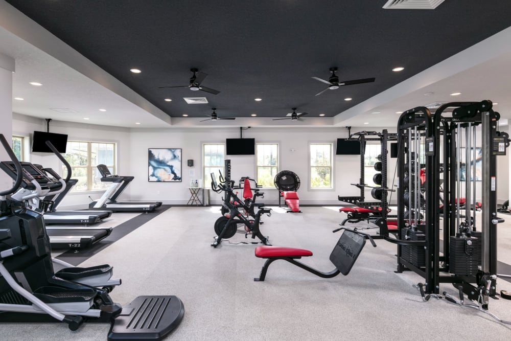 Spacious workout stations in fitness center at Integra 289 Exchange in DeBary, Florida