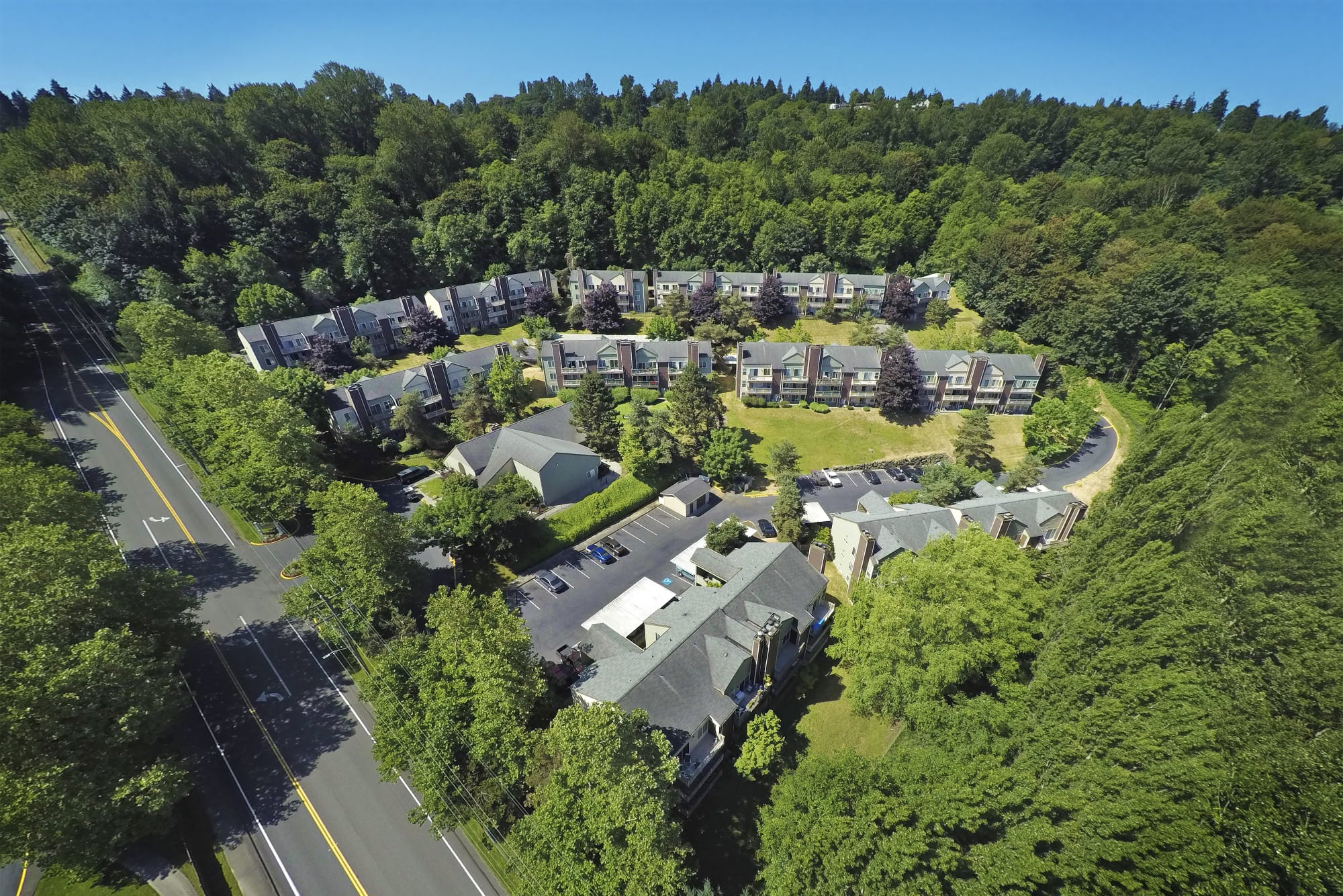 Aerial view of the property and surrounding area at Park South Apartments in Seattle, Washington