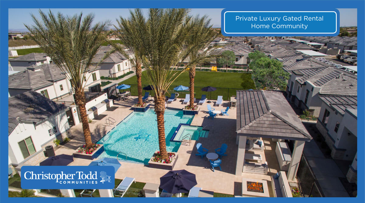 Swimming pool area at Christopher Todd Communities At Stadium in Glendale, Arizona