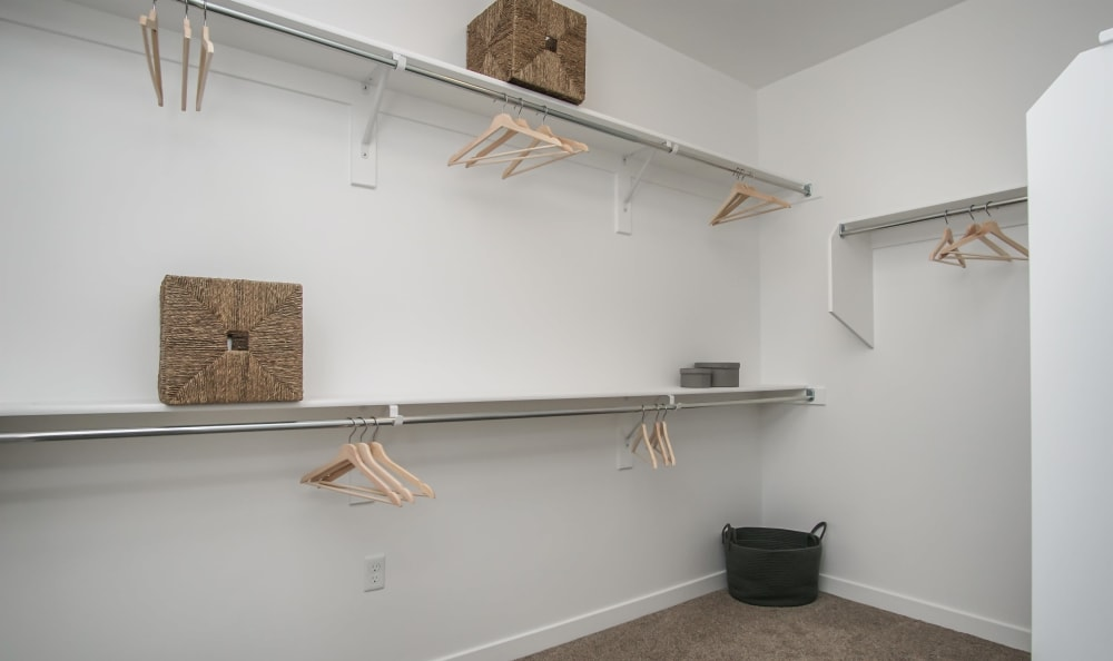 Spacious closet in apartment at Liberty Point Townhome Apartments in Draper, Utah