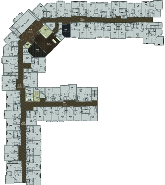 Assisted Living Building 2nd Floor at Stonecrest of Meridian Hills