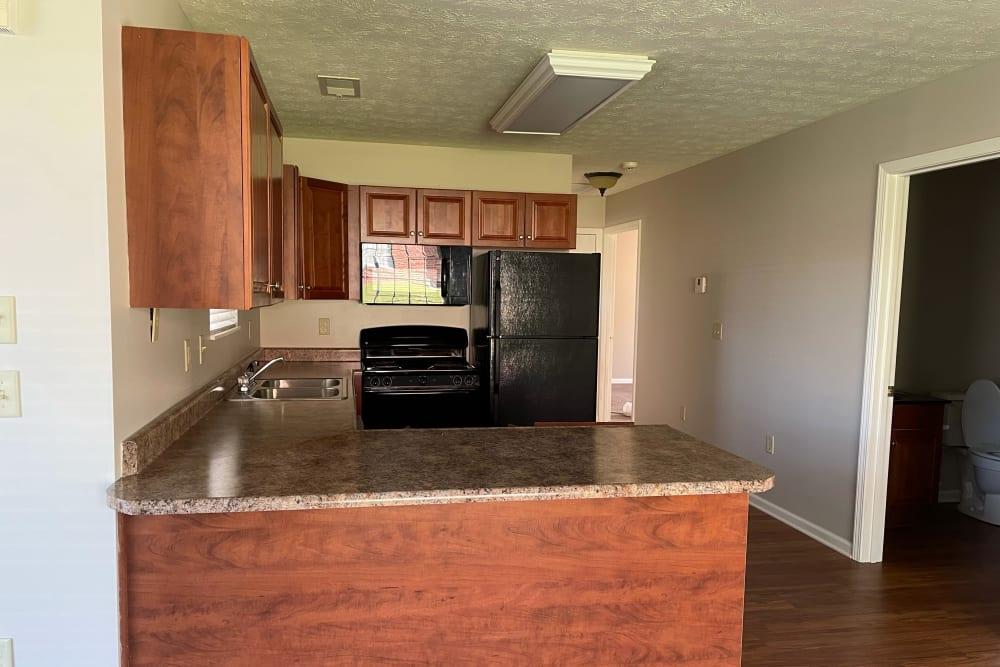 Wood cabinet kitchen at Triple Creek Retirement Community in Cincinnati, Ohio