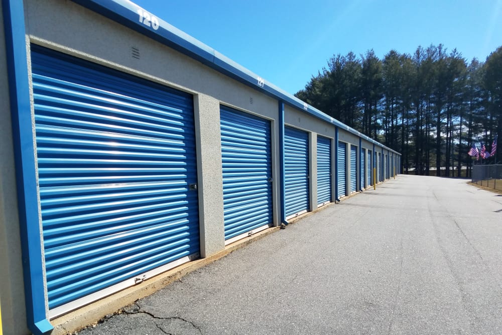 Storage units at Monster Self Storage in Asheville, North Carolina on a sunny day