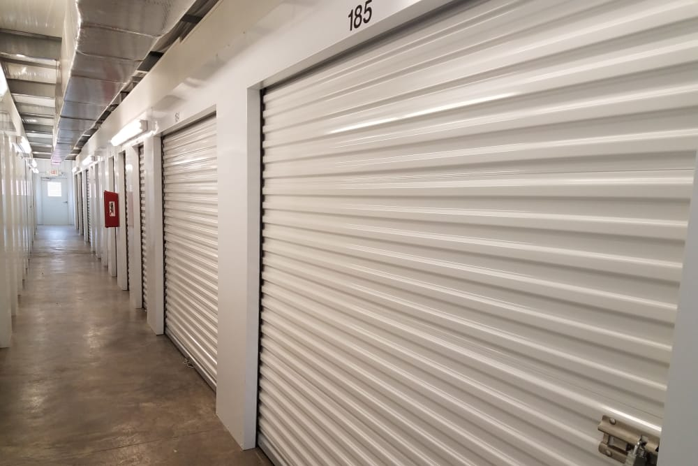 Line of storage units at Monster Self Storage in Ocean Island Beach, North Carolina