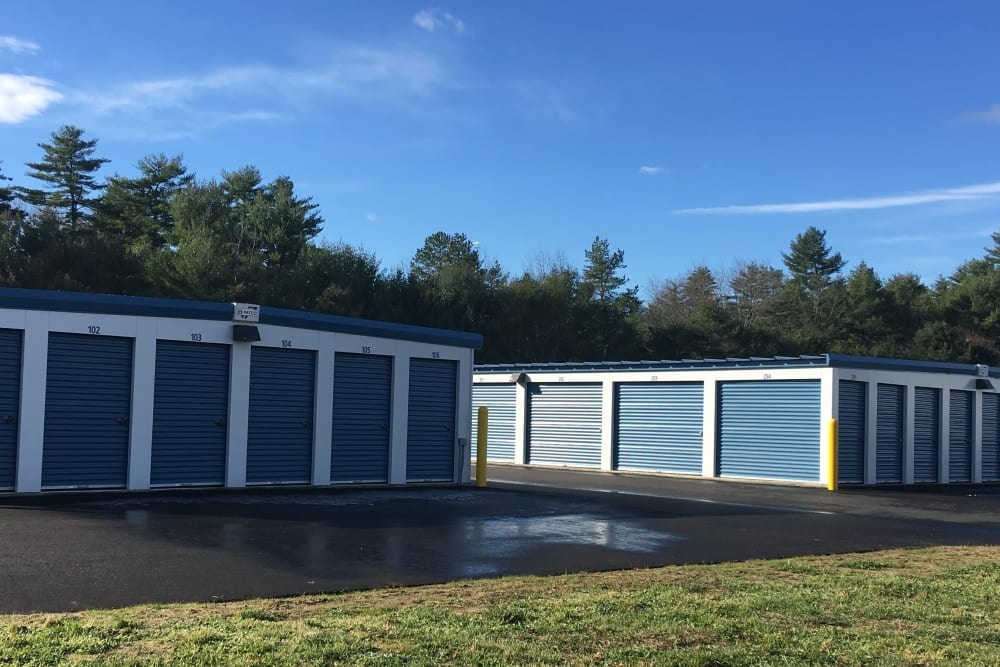 Clean exterior storage units at Safe Storage in East Baldwin, Maine