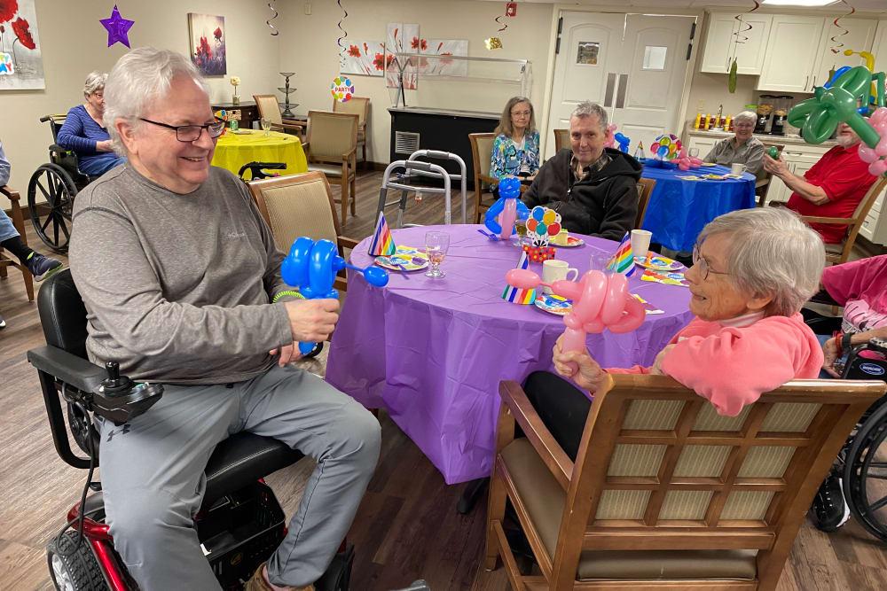 residents celebrating a birthday party