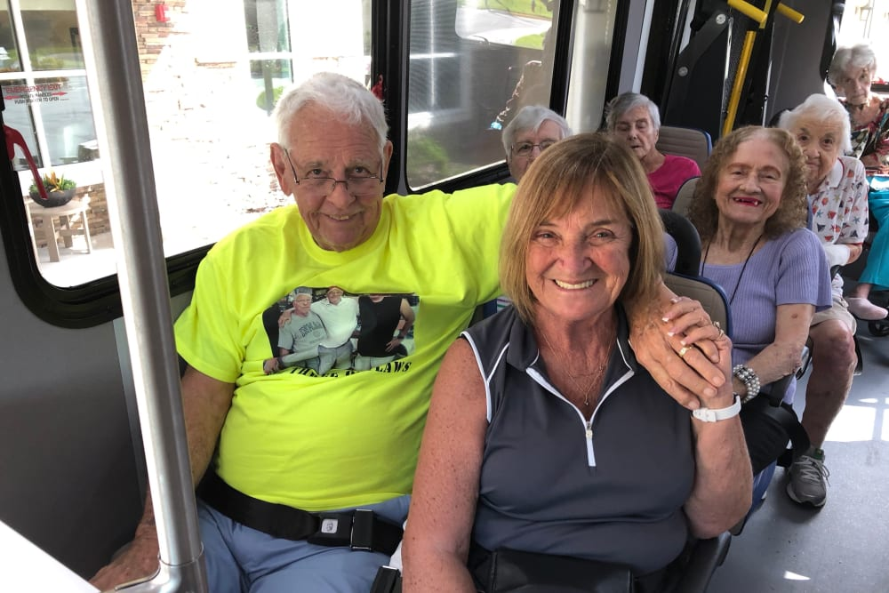 Residents on a bus at CERTUS Premier Memory Care Living in Mount Dora, Florida.