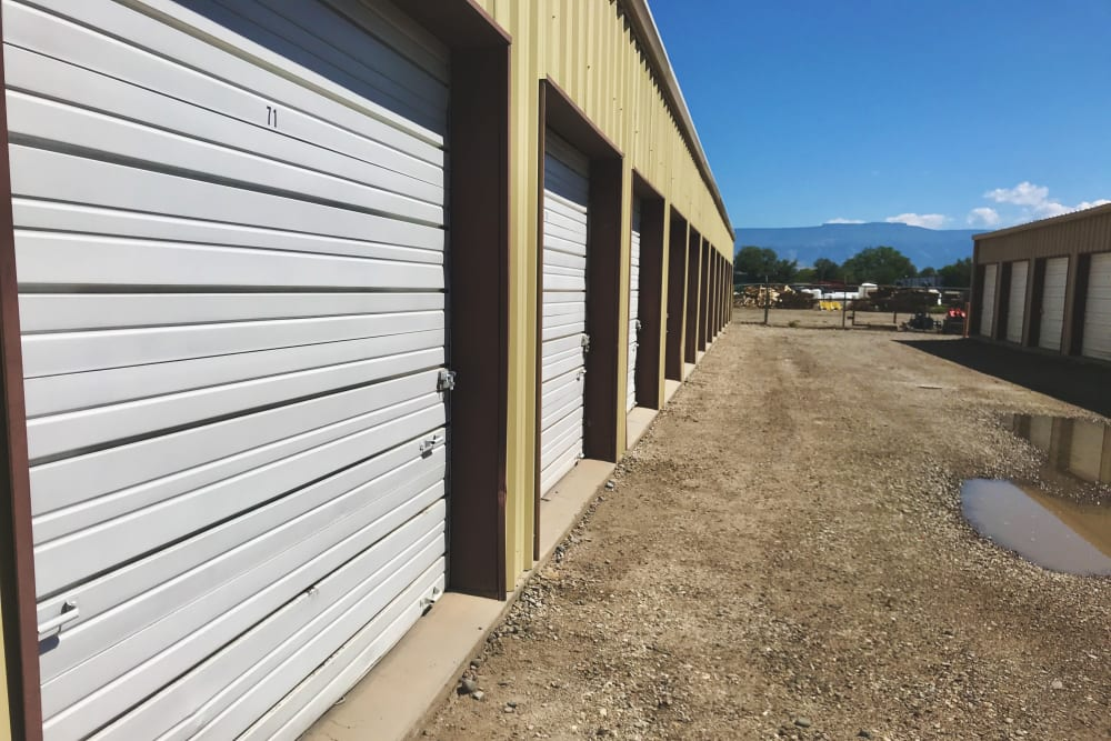 A row of storage units at 603 Storage - Dudley in Raymond, New Hampshire