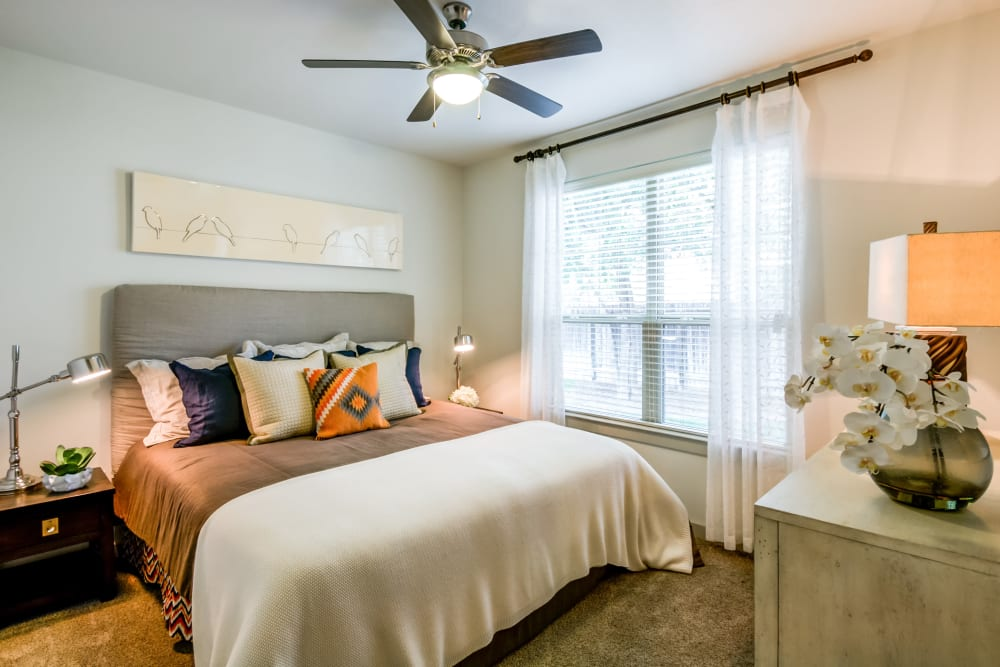 Bedroom with porch in San Antonio at Firewheel Apartments