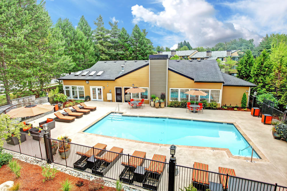 Aerial view of the pool at Newport Crossing Apartments in Newcastle, Washington