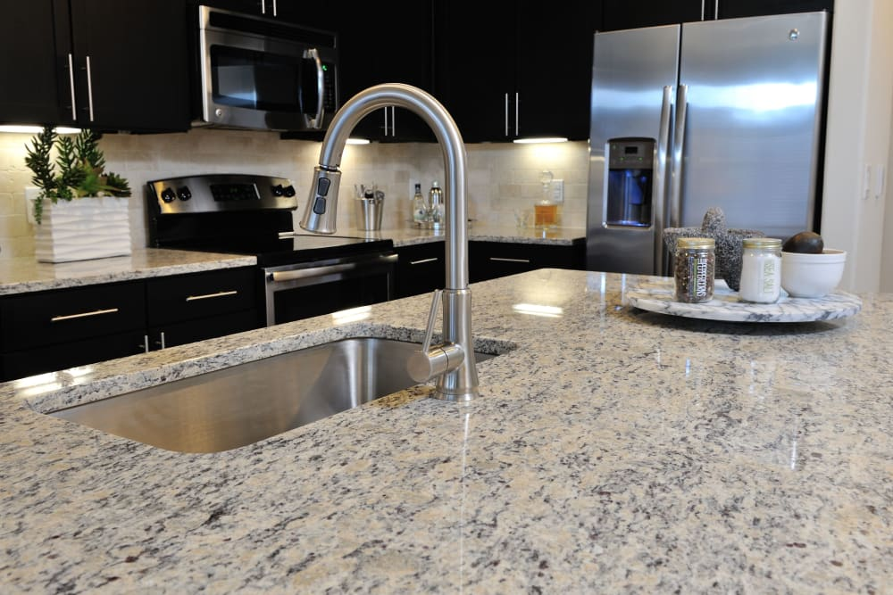 Model kitchen with stainless-steel appliances at Olympus Falcon Landing in Katy, TX