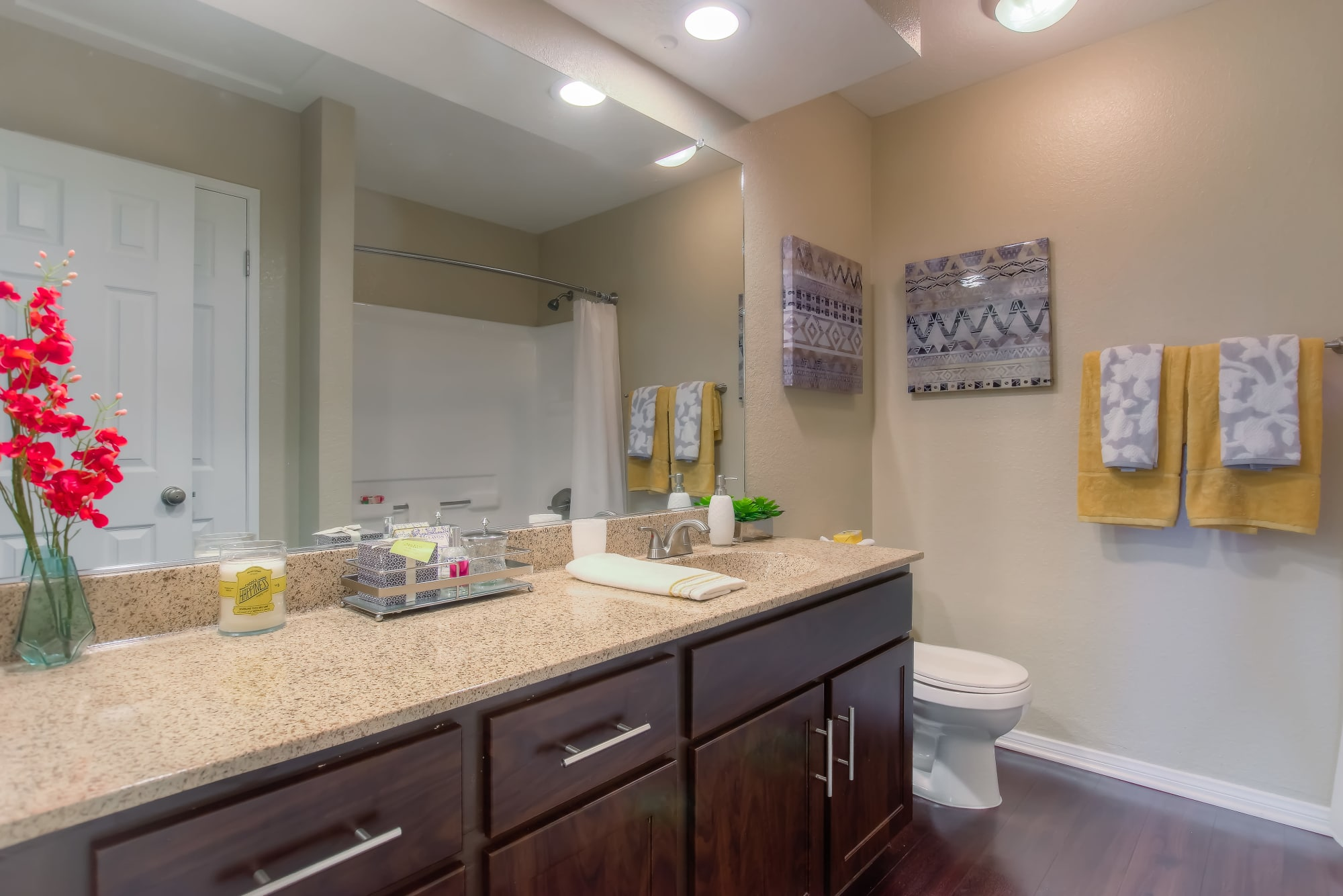 Master Bathroom with lots of counter space At Tuscany Village Apartments