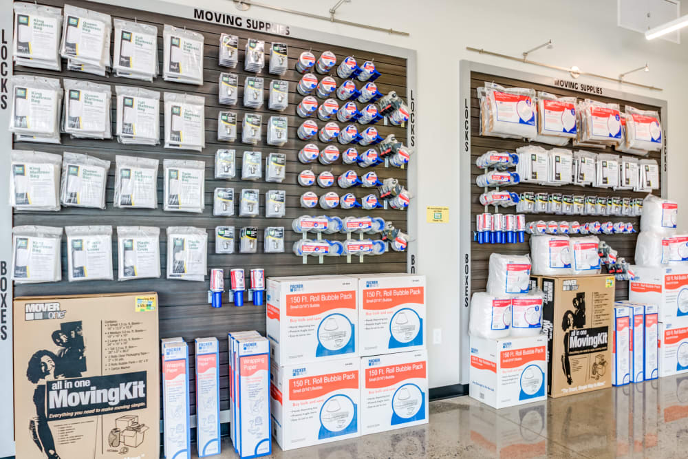 Leasing office offering storage supplies such as boxes and tape at Metro Self Storage in Mount Laurel