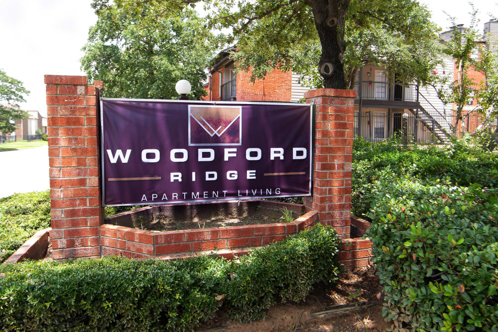 Entrance Sign at Woodford Ridge in Fort Worth