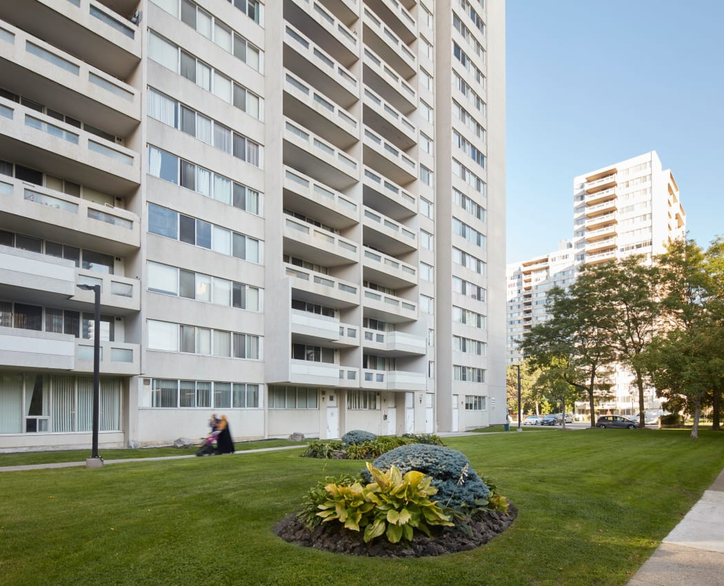 Beautiful landscaping surrounds Mississauga Place in Mississauga, Ontario