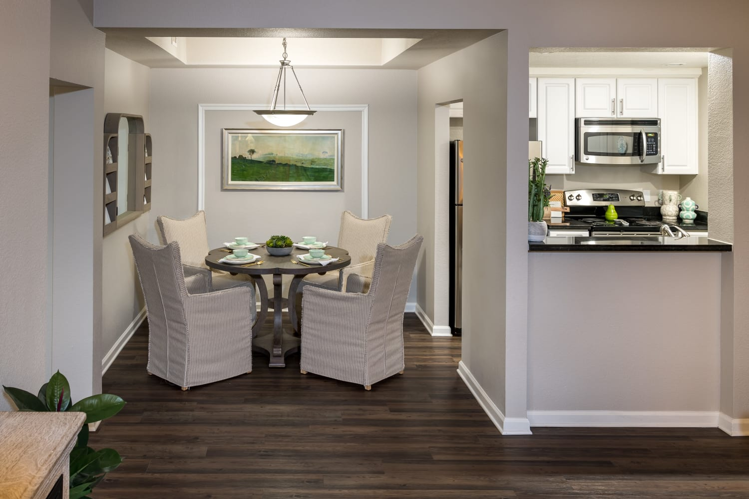 Cozy dining room at Nantucket Apartments in Santa Clara, California