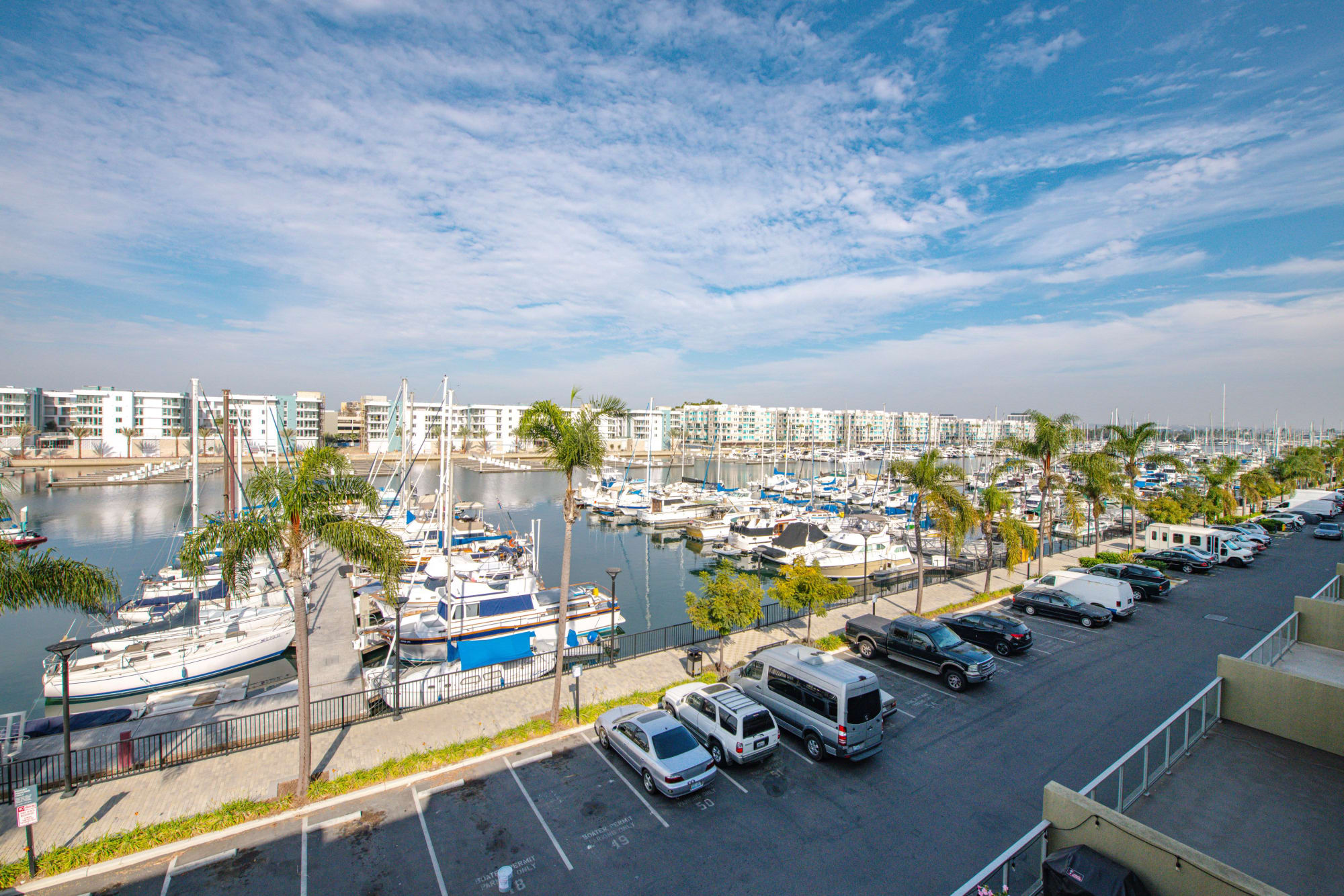 A view of the marina from the rooftop lounge at Harborside Marina Bay Apartments in Marina del Rey, California