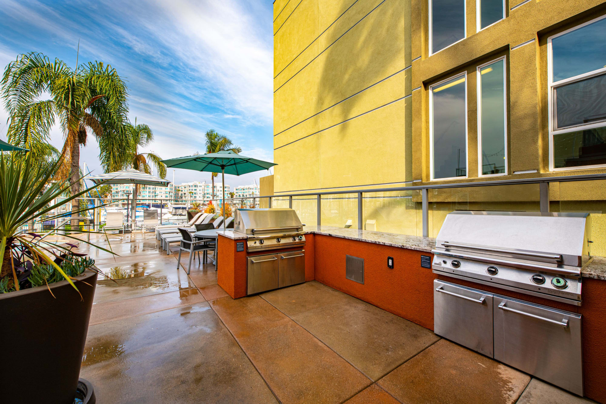 BBQ on the rooftop lounge at Harborside Marina Bay Apartments in Marina del Rey, California