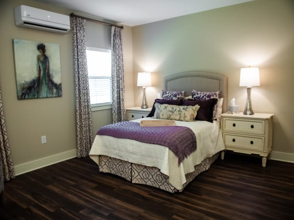 Bright bedroom at Westminster Memory Care in Lexington, South Carolina.