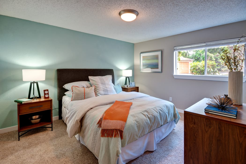 Large master bedroom in model home at StonePointe in University Place, WA