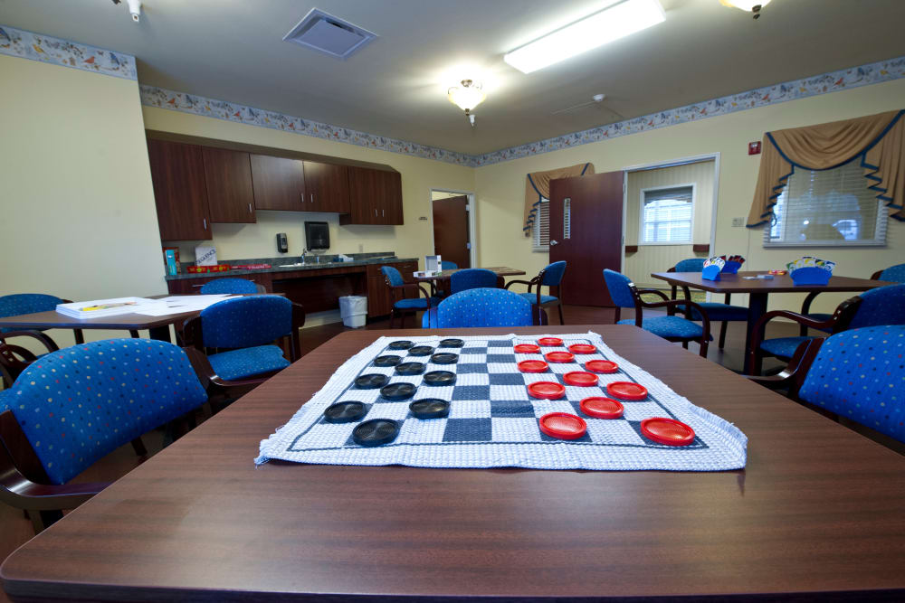 Checkers set up on a table at Cedar Creek Health Campus in Lowell, Indiana