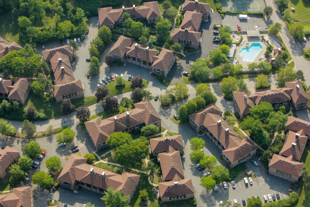 Aerial view of community at Everly Roseland in Roseland, New Jersey