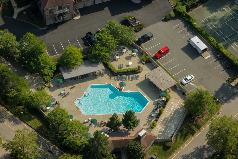 Aerial view of swimming pool area at Everly Roseland in Roseland, New Jersey