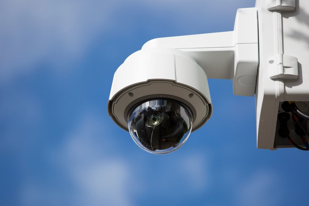 A Security camera keeps watch at Box Self Storage in Junction City, Kansas