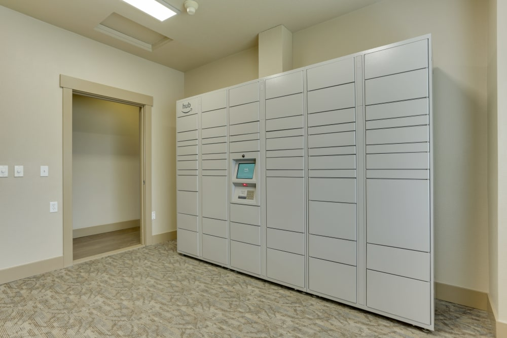 The convenient package room at The Landings at Morrison Apartments in Gresham, Oregon