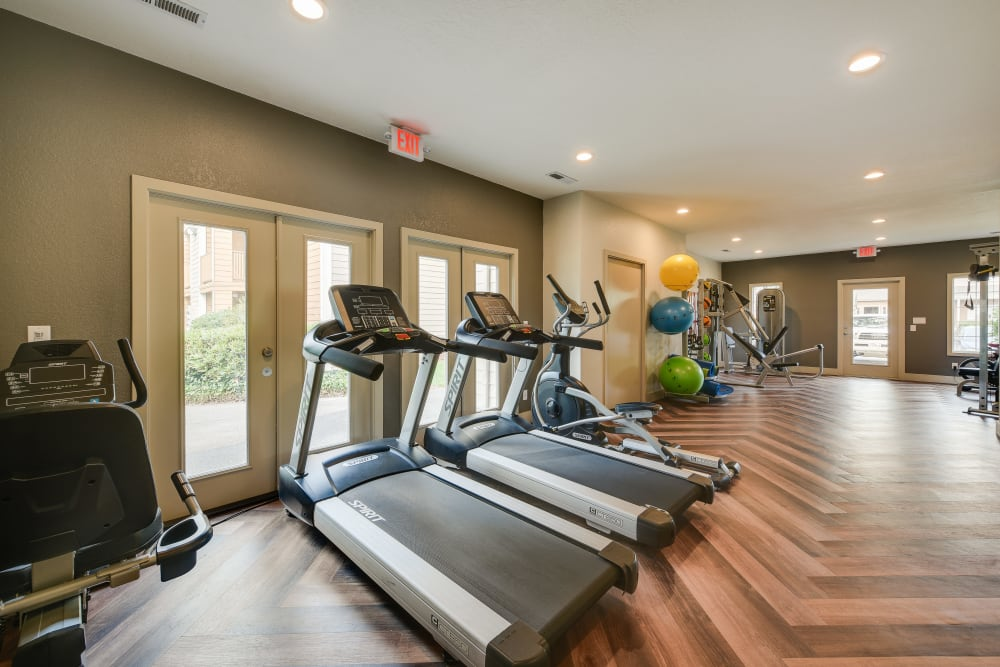 Fitness center with plenty of individual workout stations at Carriage House Apartments in Vancouver, Washington