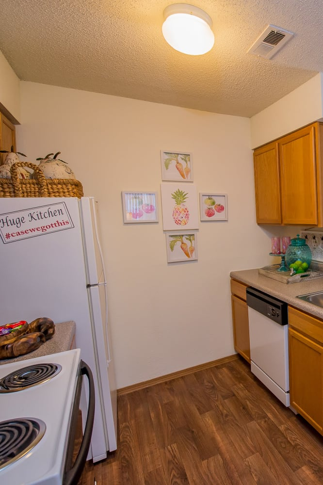 Bright kitchen at Huntington Park Apartments in Wichita, Kansas