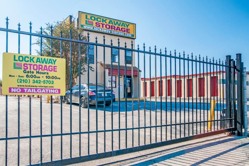 Gated entrance at Lockaway Storage in San Antonio, Texas