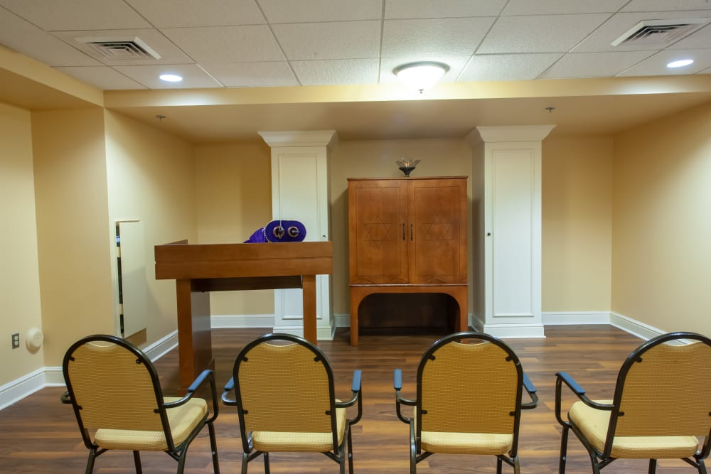 Activity room at Woodholme Gardens in Pikesville, Maryland.