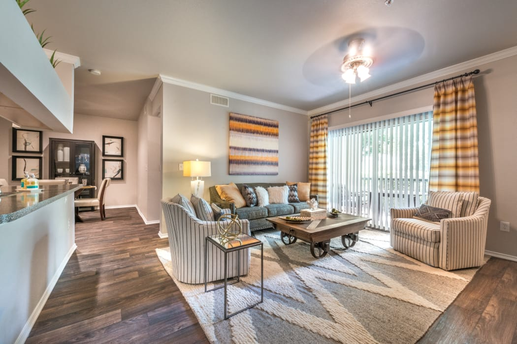 Naturally well-lit living room at 23Hundred at Ridgeview in Plano, Texas