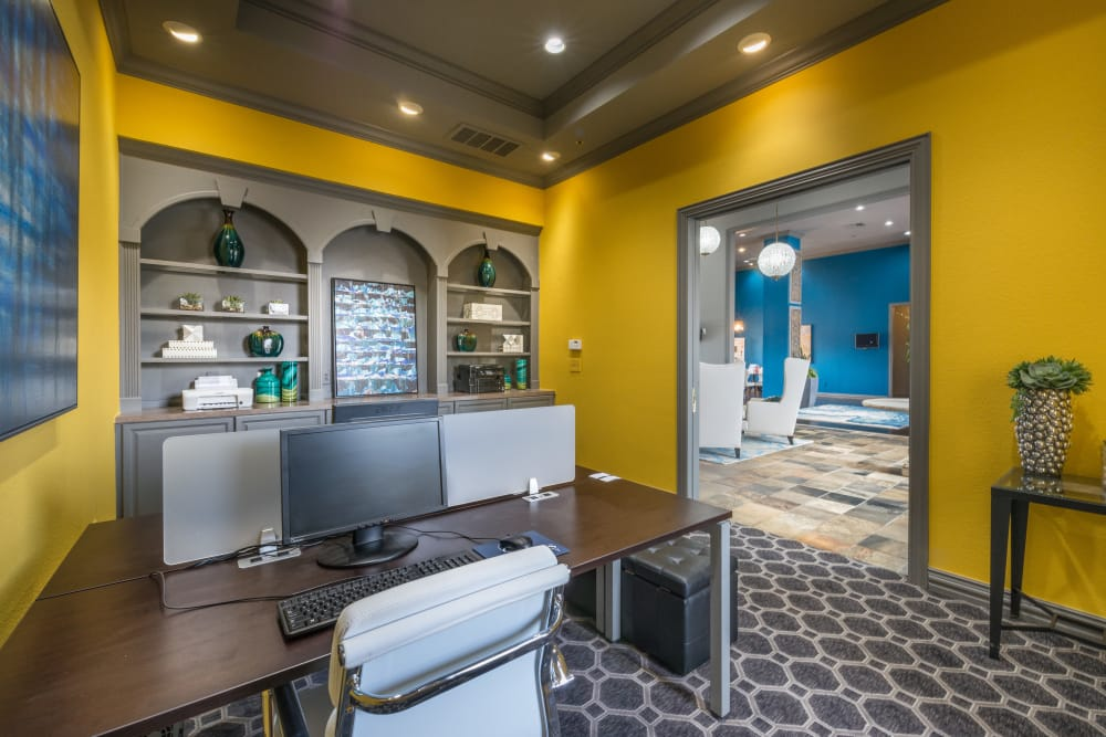 Resident business center at 23Hundred at Ridgeview in Plano, Texas