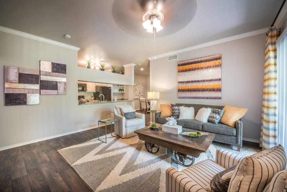 Cozy living room at 23Hundred at Ridgeview in Plano, Texas