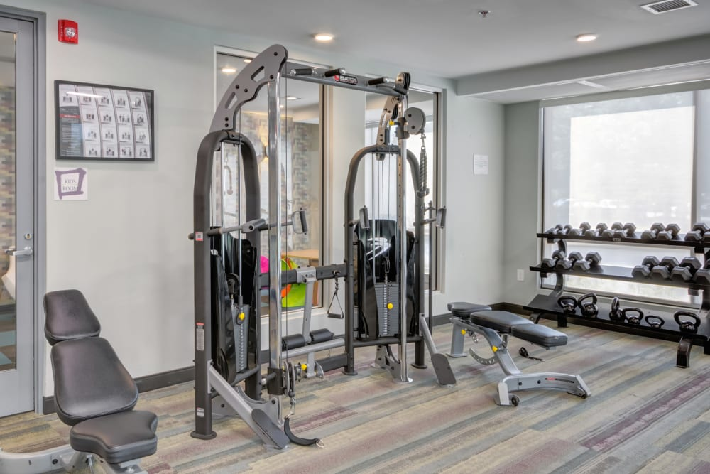 Extensively equipped weight lifting set at Crossings at Olde Towne